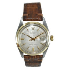 Rolex Two-Tone Datejust with Rare Smooth Bezel and Linen Dial from 1972 or 1973
