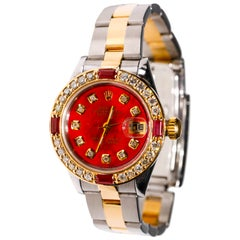 Rolex Two-Tone Ladies Datejust 1998, Automatic Diamond Ruby Dial 18 Karat Gold