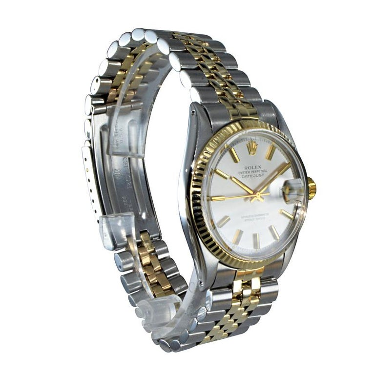 FACTORY / HOUSE: Rolex Watch Co STYLE / REFERENCE: Oyster Perpetual Datejust / Ref 1601 METAL / MATERIAL: Stainless Steel / 14Kt Yellow Gold DIMENSIONS / SIZE: 44mm x 36mm MOVEMENT / CALIBER: Perpetual Winding / 26 Jewels  DIAL / HANDS: Original
