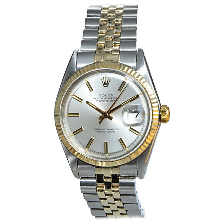 Rolex Two-Tone Oyster Perpetual Datejust Ref 1601 from 1972 with Original Papers For Sale