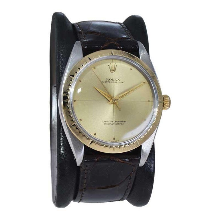 Modern Rolex Two Tone Rare Zephyr Model with Flawless Original Dial from Mid 1960's For Sale