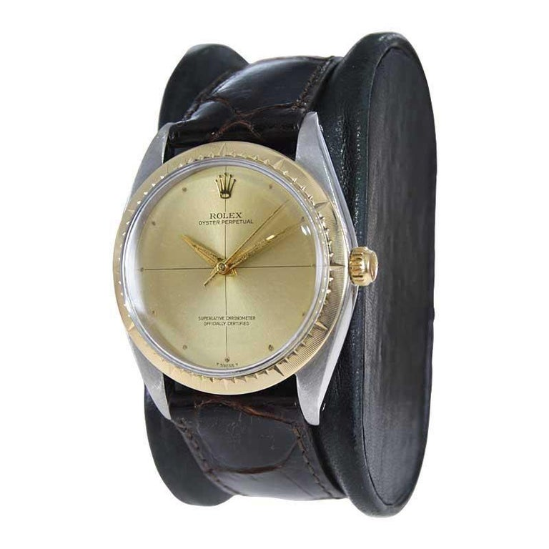 Rolex Two Tone Rare Zephyr Model with Flawless Original Dial from Mid 1960's In Excellent Condition For Sale In Long Beach, CA