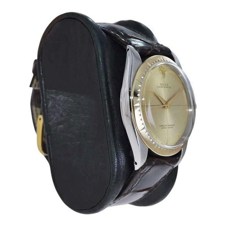 Women's or Men's Rolex Two Tone Rare Zephyr Model with Flawless Original Dial from Mid 1960's For Sale