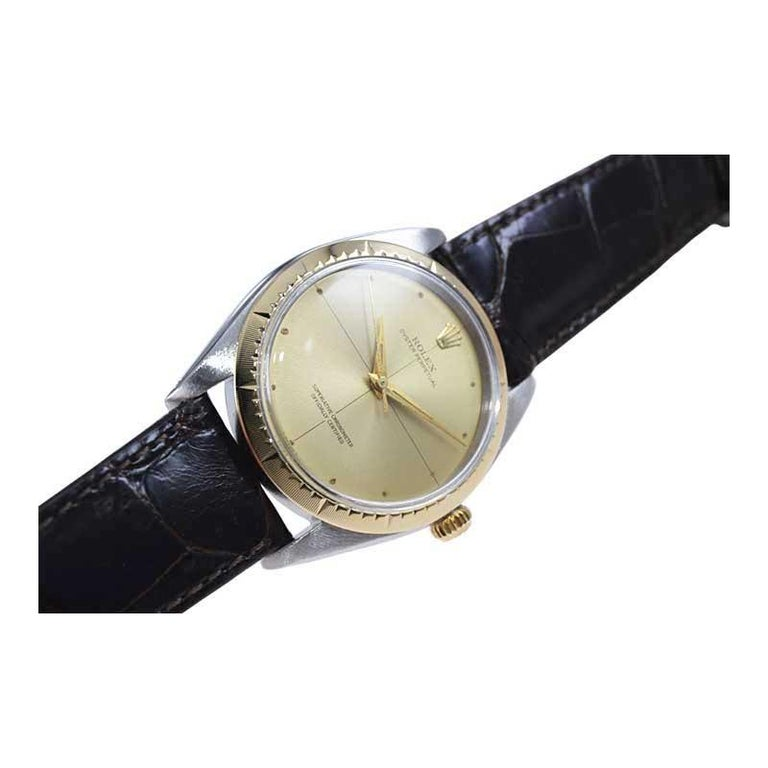 Rolex Two Tone Rare Zephyr Model with Flawless Original Dial from Mid 1960's For Sale 1