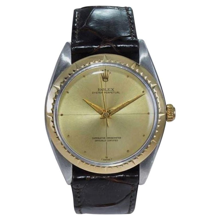 Rolex Two Tone Rare Zephyr Model with Flawless Original Dial from Mid 1960's For Sale
