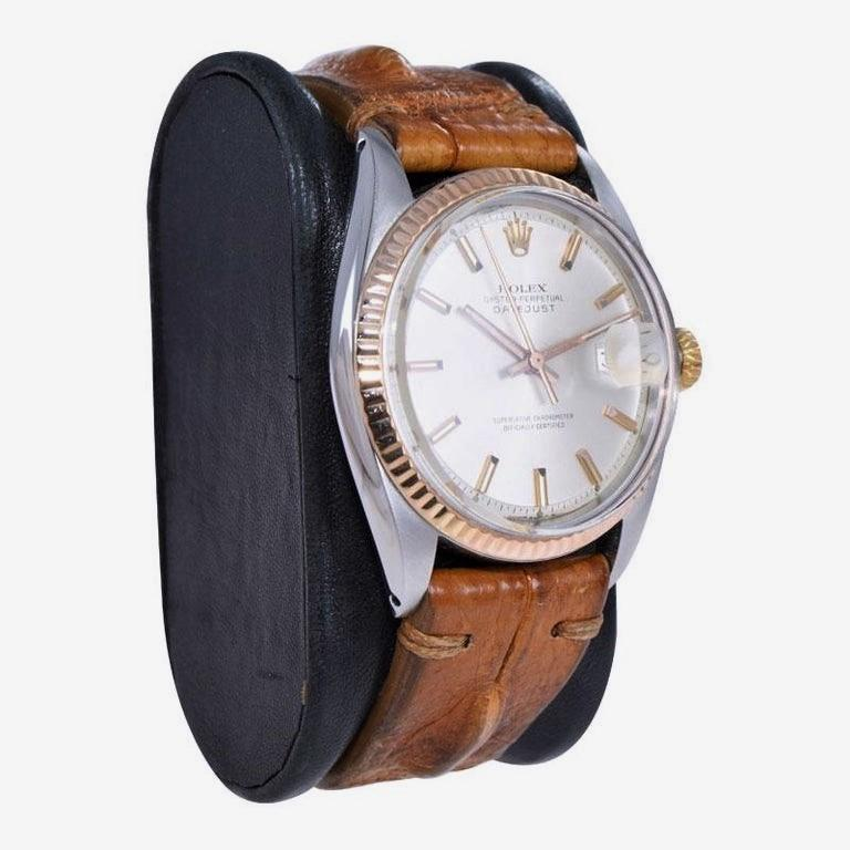 Modernist Rolex Two-Tone Steel and Gold Datejust with Rare Rose Gold Bezel, circa 1970s For Sale