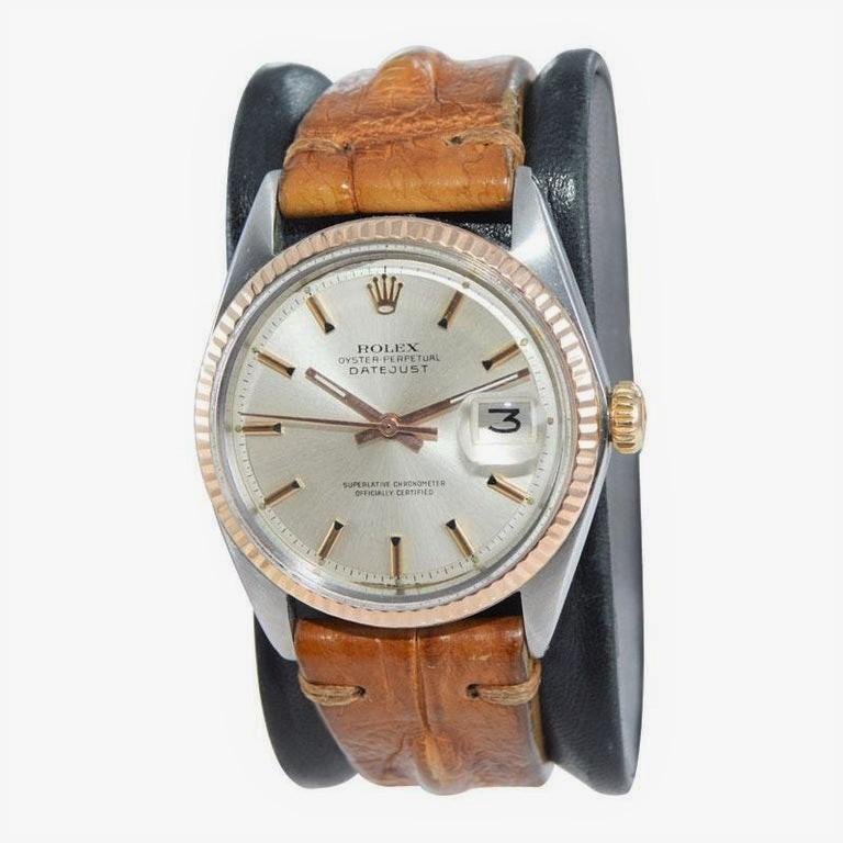 Women's or Men's Rolex Two-Tone Steel and Gold Datejust with Rare Rose Gold Bezel, circa 1970s For Sale