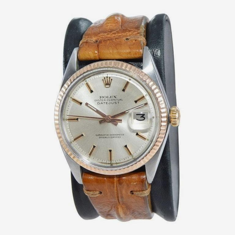 Rolex Two-Tone Steel and Gold Datejust with Rare Rose Gold Bezel, circa 1970s For Sale 1