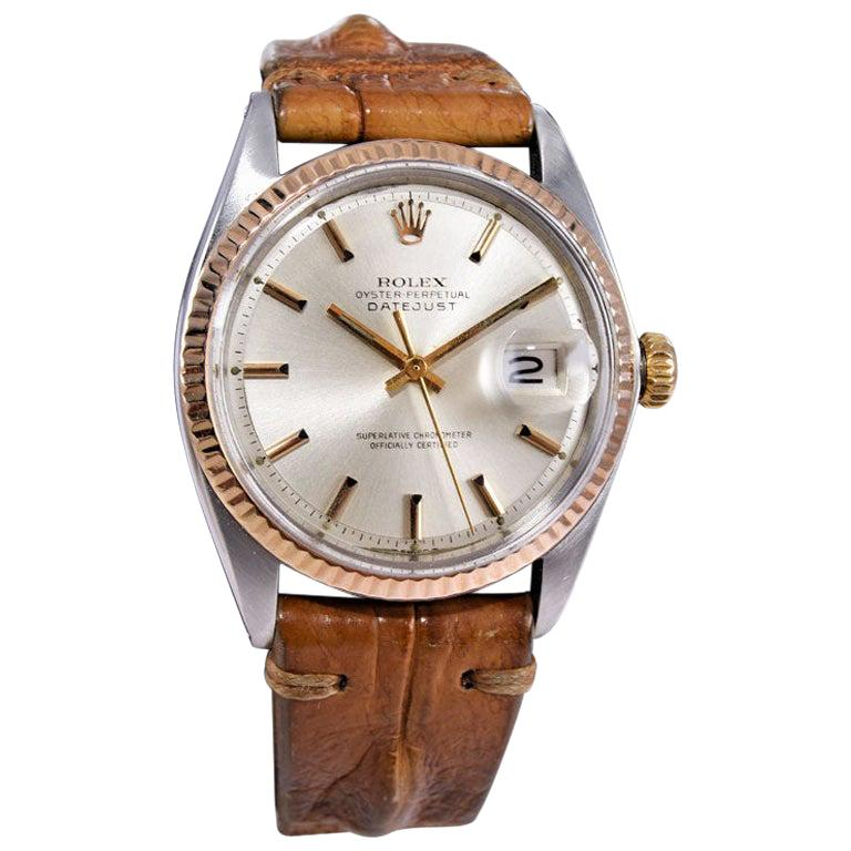 Rolex Two-Tone Steel and Gold Datejust with Rare Rose Gold Bezel, circa 1970s For Sale