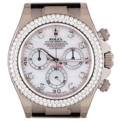 Rolex Unworn Cosmograph Daytona 18 Karat Gold Mother of Pearl Dial Diamond Set