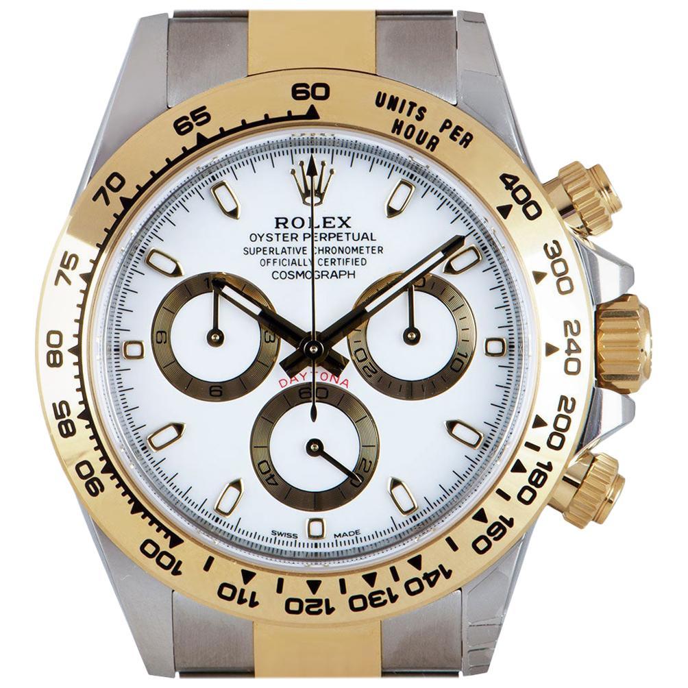 Rolex Unworn Cosmograph Daytona Stainless Steel & 18k Yellow Gold White Dial B&P