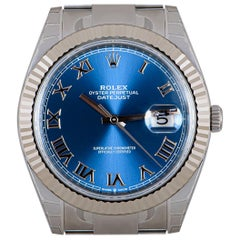 Rolex Unworn Datejust 41 Gents Stainless Steel Blue Roman Dial B&P 126334