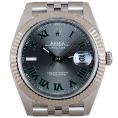 Rolex Unworn Datejust 41 Gents Stainless Steel Slate Grey Roman Dial B&P 126334