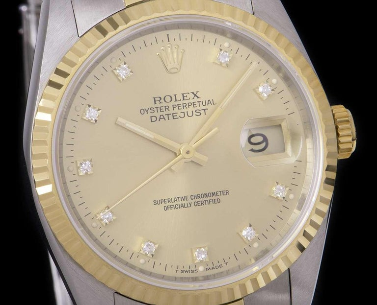 Round Cut Rolex Unworn Datejust Stainless Steel & 18k Yellow Gold Diamond Dial B&P 16233 For Sale