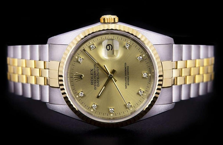 Rolex Unworn Datejust Stainless Steel & 18k Yellow Gold Diamond Dial B&P 16233 In Excellent Condition For Sale In London, GB