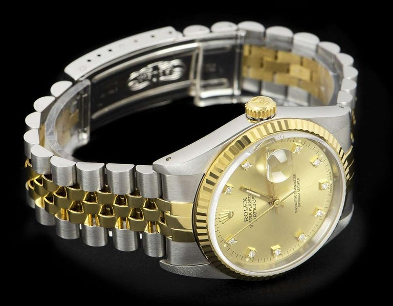 Men's Rolex Unworn Datejust Stainless Steel & 18k Yellow Gold Diamond Dial B&P 16233 For Sale
