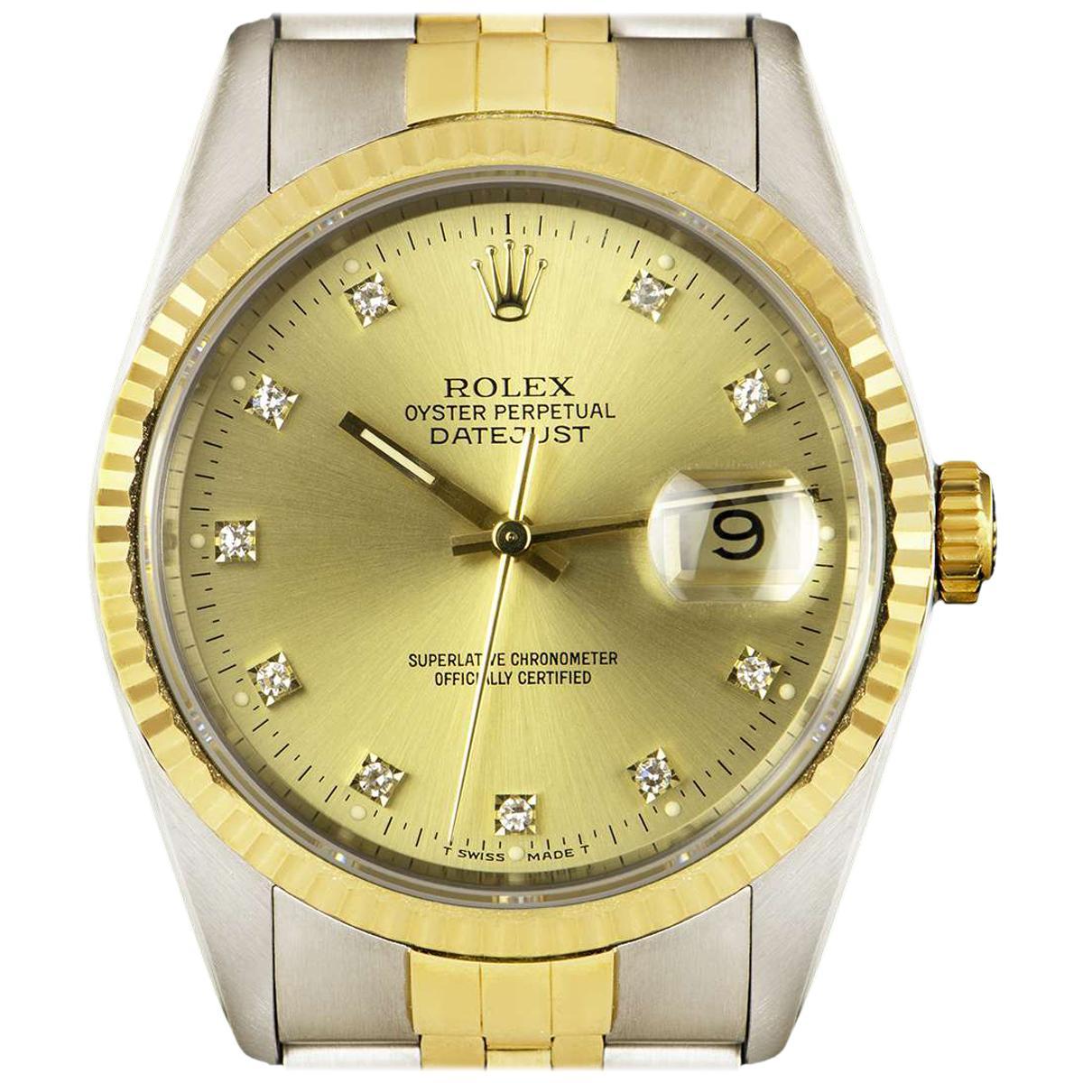 Rolex Unworn Datejust Stainless Steel & 18k Yellow Gold Diamond Dial B&P 16233