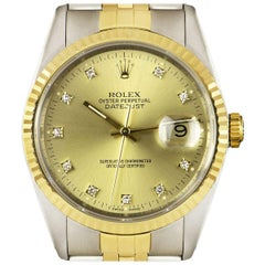 Rolex Unworn Datejust Stainless Steel & 18k Yellow Gold Diamond Dial B&P 16233