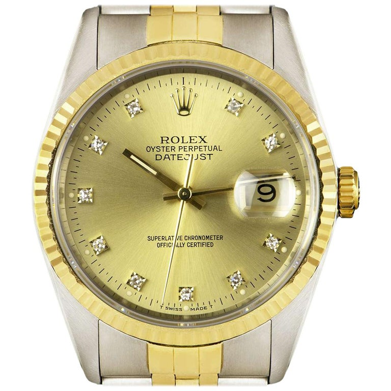 Rolex Unworn Datejust Stainless Steel & 18k Yellow Gold Diamond Dial B&P 16233 For Sale