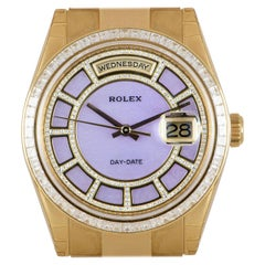 Rolex Unworn Day-Date 18 Karat Gold Pink Mother of Pearl Carousel Dial 118398BR