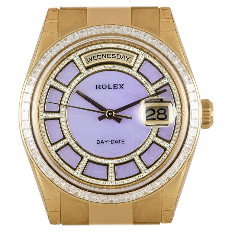 Rolex Unworn Day-Date 18 Karat Gold Pink Mother of Pearl Carousel Dial 118398BR For Sale