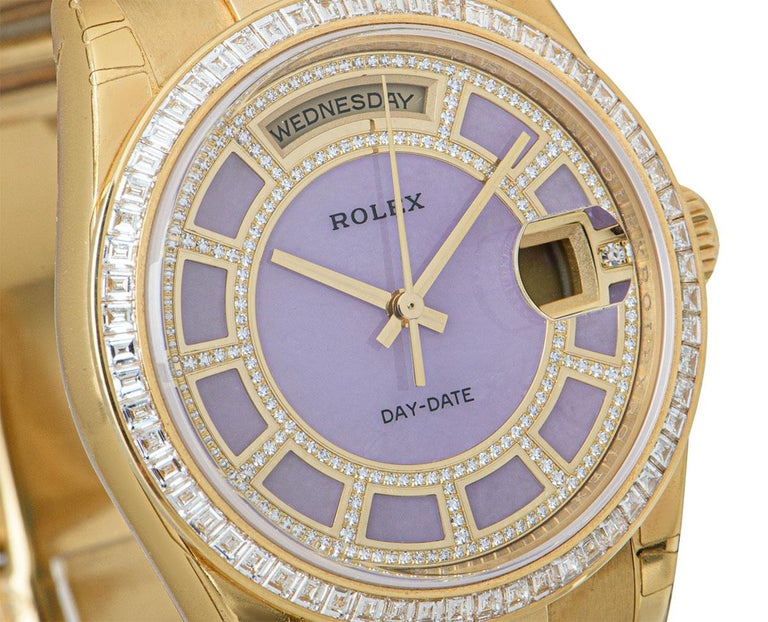 Baguette Cut Rolex Unworn Day-Date 18 Karat Gold Pink Mother of Pearl Carousel Dial 118398BR For Sale