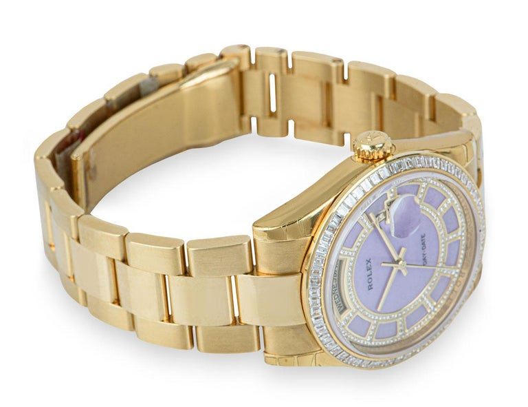 Men's Rolex Unworn Day-Date 18 Karat Gold Pink Mother of Pearl Carousel Dial 118398BR For Sale