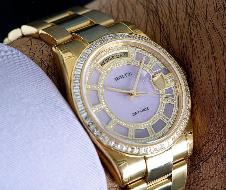 Rolex Unworn Day-Date 18 Karat Gold Pink Mother of Pearl Carousel Dial 118398BR For Sale 3
