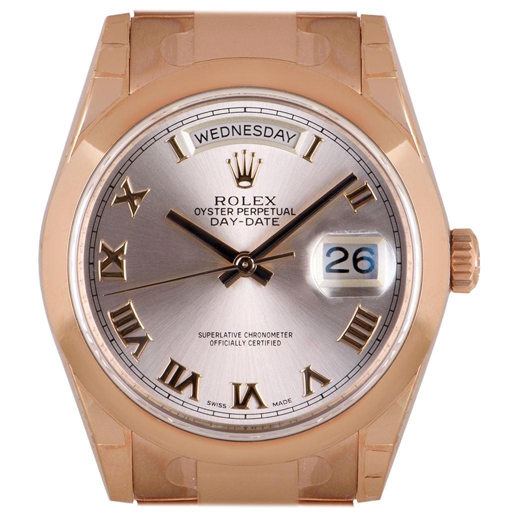 Rolex Unworn Day-Date 36 Gents 18 Karat Rose Gold Rose Dial B&P 118205