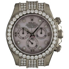 Rolex Unworn Gold Diamond Bezel Daytona Chronograph Pink Mother of Pearl Dial