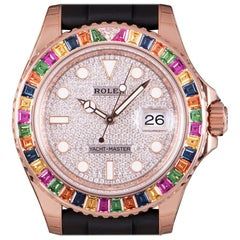 Rolex Unworn Yacht-Master 40 Rainbow Rose Gold Pave Diamond Dial B&P 116695SATS