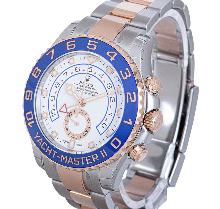 An Unworn Stainless Steel & 18k Rose Gold Oyster Perpetual Yacht-Master II Gents Wristwatch, white dial with applied hour markers, small seconds at 6 0'clock, an 18k rose gold uni-directional rotating bezel with a blue cerachrom insert and 10 minute
