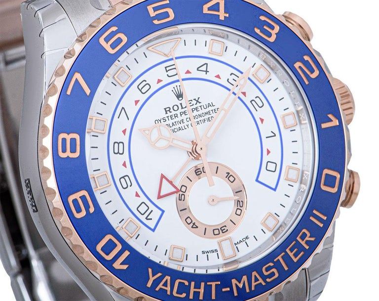 Rolex Unworn Yacht-Master II Stainless Steel and 18 Karat Gold White Dial 116681 In New Condition For Sale In London, GB