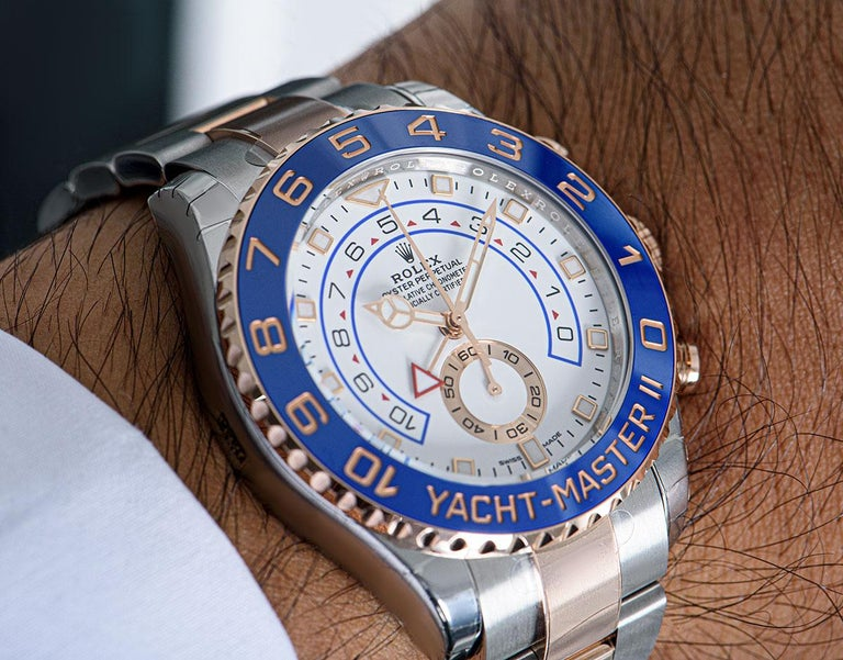 Rolex Unworn Yacht-Master II Stainless Steel and 18 Karat Gold White Dial 116681 For Sale 4