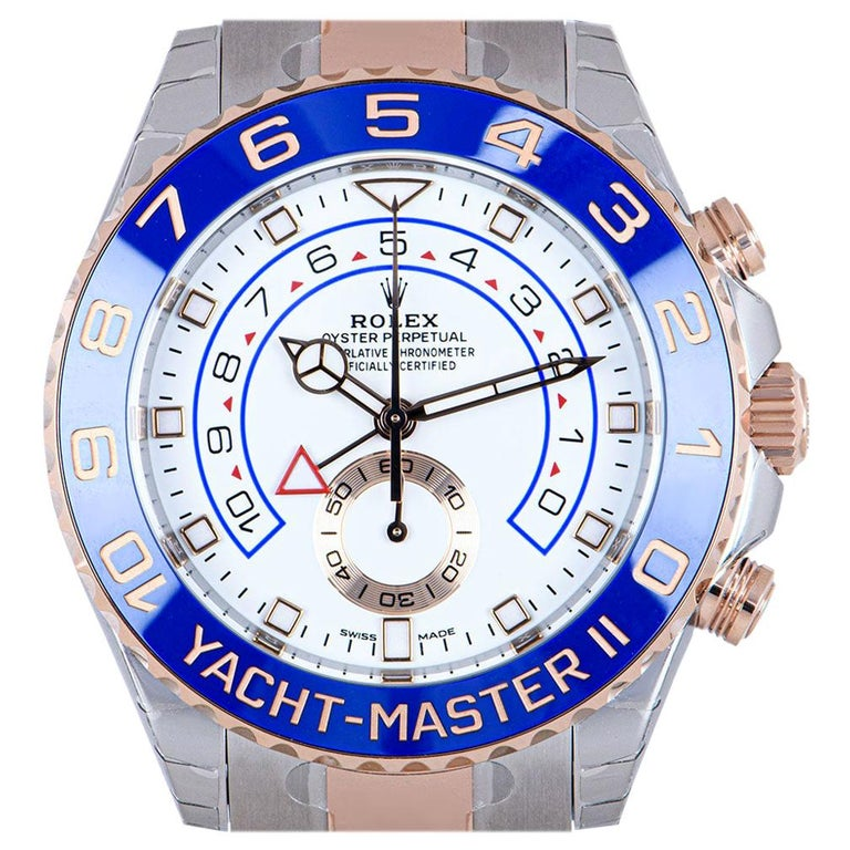 Rolex Unworn Yacht-Master II Stainless Steel and 18 Karat Gold White Dial 116681 For Sale