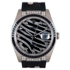 Rolex Unworn Zebra Datejust White Gold Pave Diamond Dial Black Sapphire Bezel
