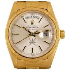 Rolex Very Rare Day-Date 18 Karat Yellow Gold Silver Omani Dial Bark Finish