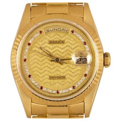 Rolex Very Rare Day-Date 18k Yellow Gold Decorated Diamond and Ruby String Dial