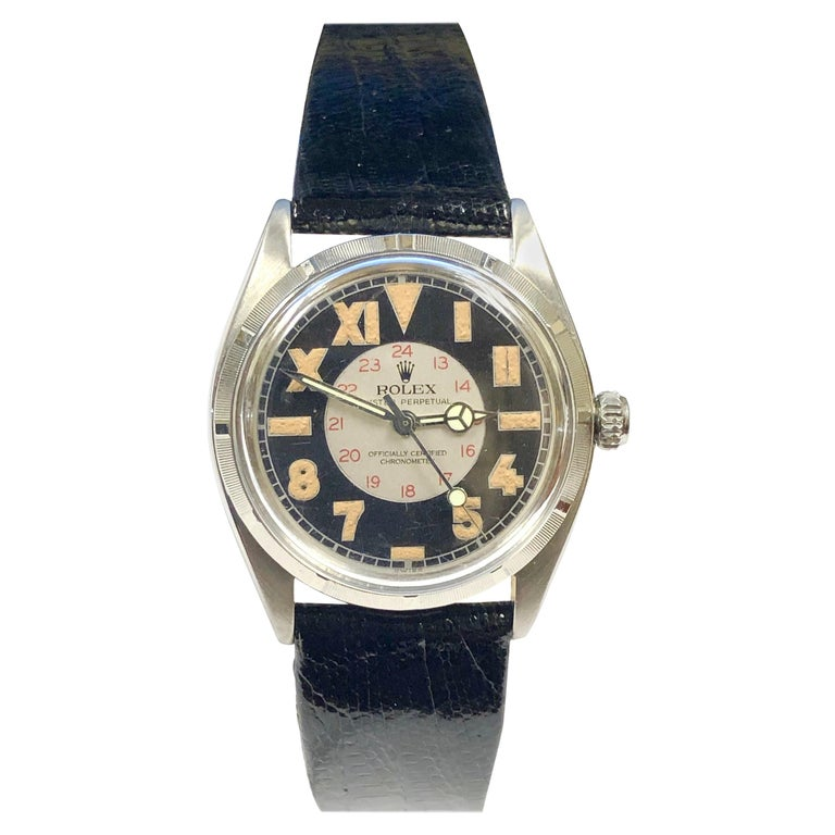 Rolex Vintage 1944 Steel Automatic with Bubble Back Style Military Dial For Sale