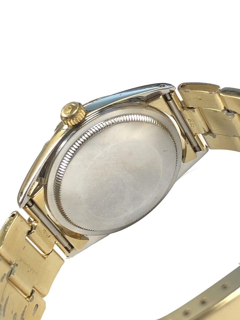 Rolex Vintage Gold Shell Date Model Automatic on Gold Shell Oyster Bracelet In Excellent Condition In Chicago, IL