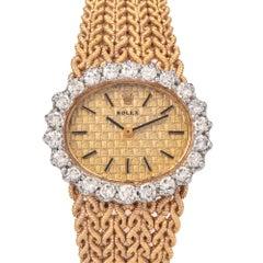Rolex Vintage Ladies 18 Karat Yellow Gold Diamond Watch