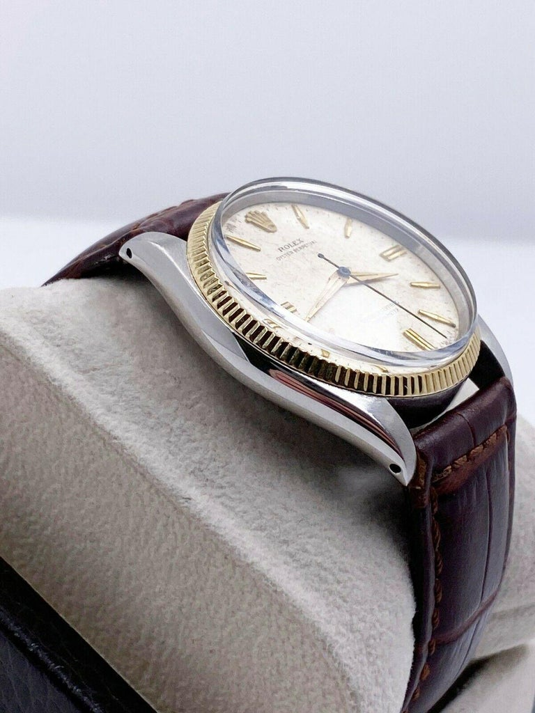 Rolex Vintage Oyster Perpetual 6567 Original Natural Patina Stainless 14K Gold In Good Condition For Sale In San Diego, CA