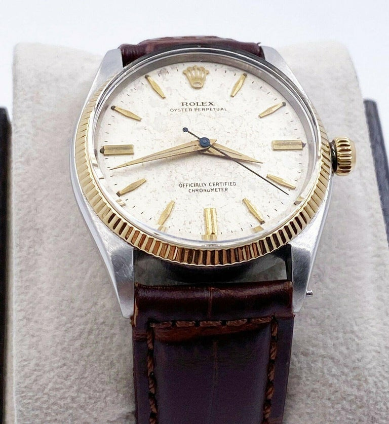 Rolex Vintage Oyster Perpetual 6567 Original Natural Patina Stainless 14K Gold For Sale 2