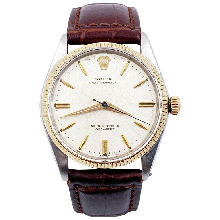 Rolex Vintage Oyster Perpetual 6567 Original Natural Patina Stainless 14K Gold For Sale
