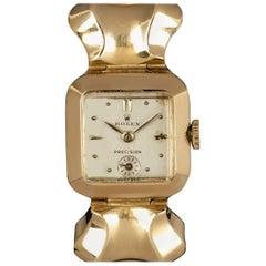 Rolex Vintage Precision 18 Karat Yellow Gold Silver Dial Ladies Wristwatch