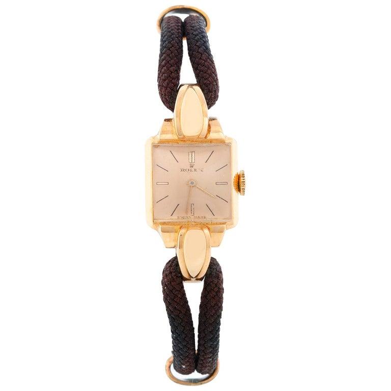 Rolex Vintage Rose Gold Ladies Dress Watch For Sale