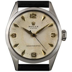 Rolex Vintage Stainless Steel Rare Cream Quadrante Dial Oyster Shock Resisting