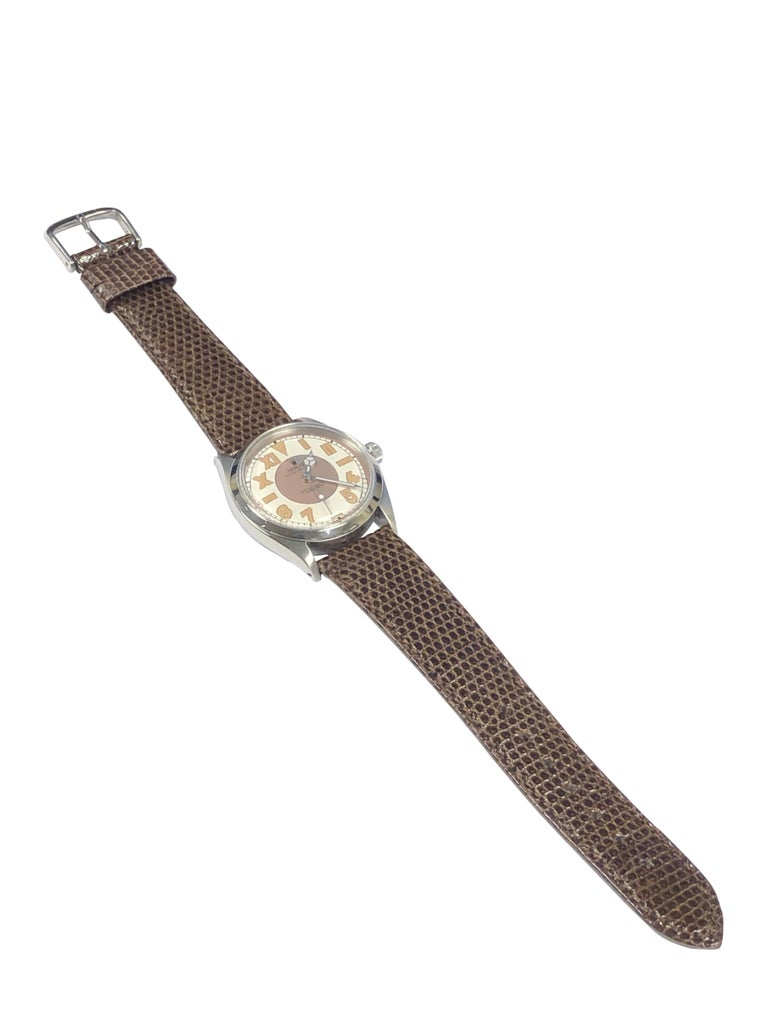 Women's or Men's Rolex Vintage Steel Automatic Wristwatch with Bubble Back Style Dial For Sale