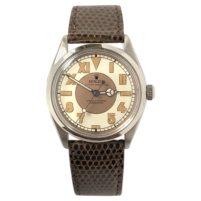 Rolex Vintage Steel Automatic Wristwatch with Bubble Back Style Dial For Sale