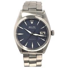 Rolex Vintage Steel Oyster Date Mechanical Custom Blue Dial Wristwatch